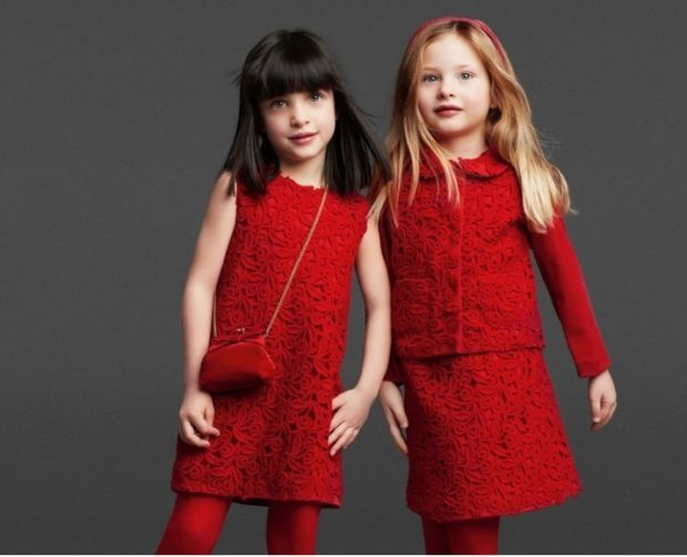 детская мода 2018-2019 для девочек - красное ажурное платье
