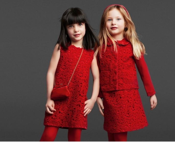 красное ажурное платье - детская мода 2018 для девочек