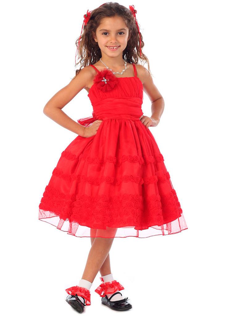 детская мода - красное платье на тонких лямках для девочек