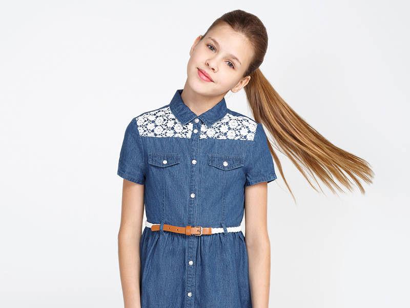 джинсовое платье с коротким рукавом для девочек