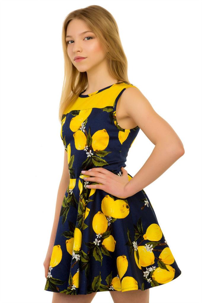 детская мода - платье короткое в лимоны без рукава для девочек