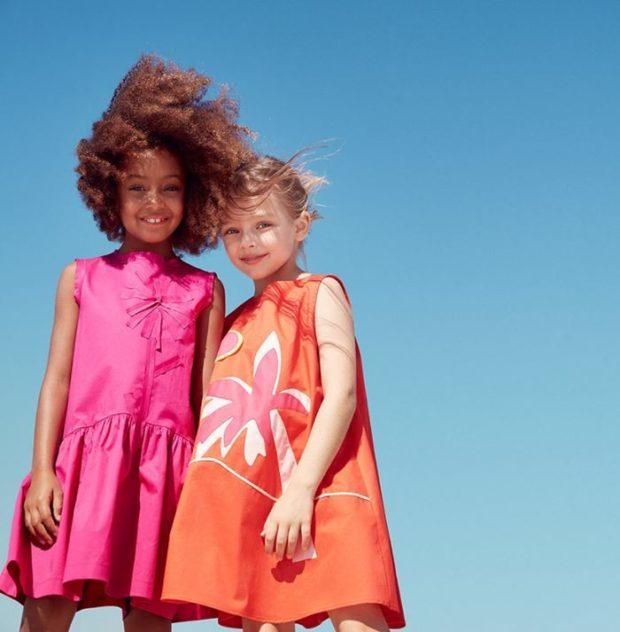 детская мода - малиновое платье оранжевое без рукава для девочек