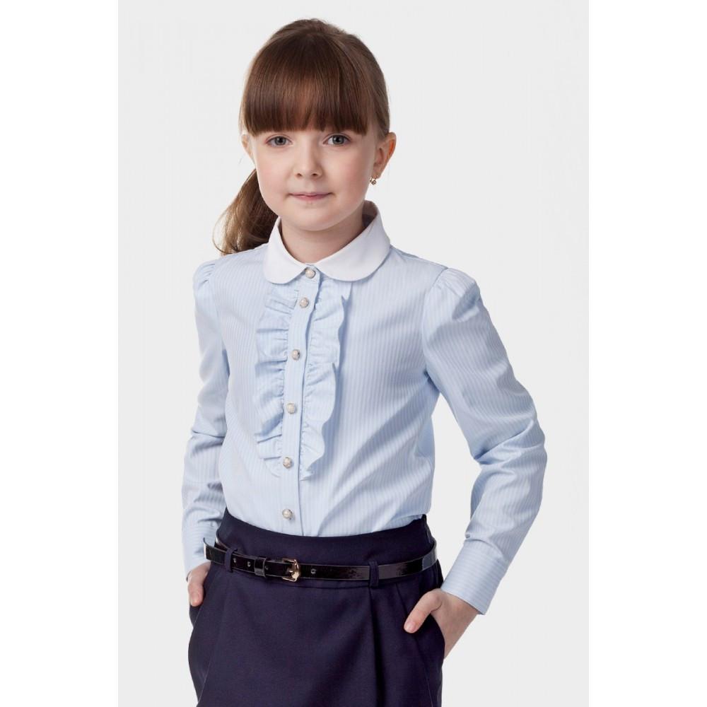 детская мода - голубая блузка в полоску с жабо для девочек