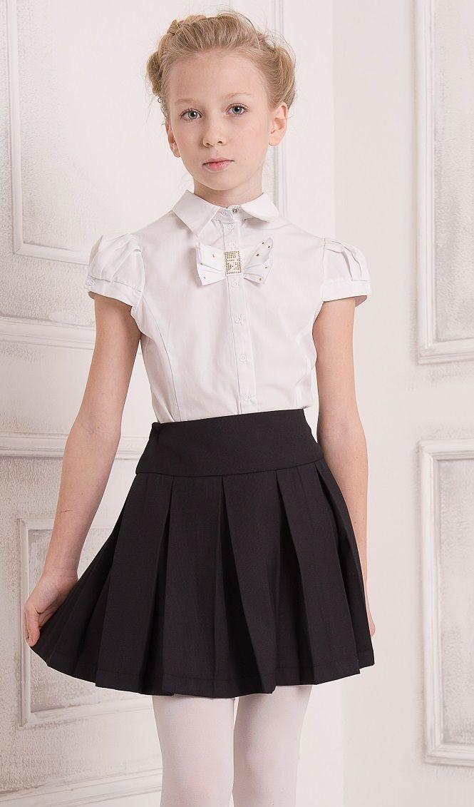 детская мода - черная юбка в складку