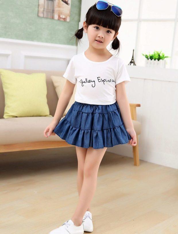 детская мода - юбка короткая джинсовая воланами