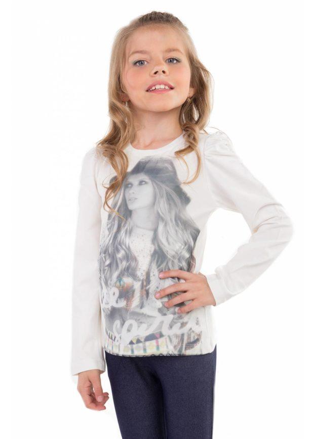 детская мода - лонгслив белый с принтом девушка