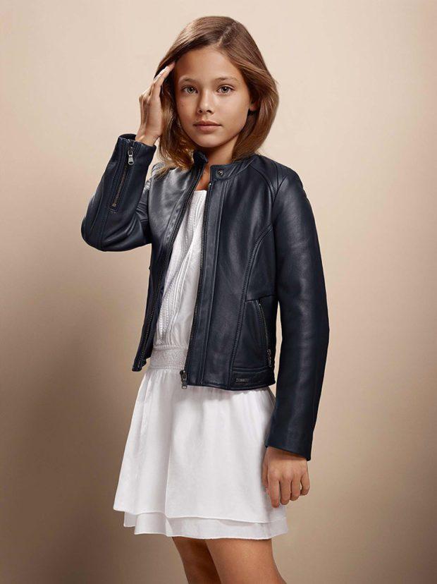 детская мода - черная кожаная куртка короткая