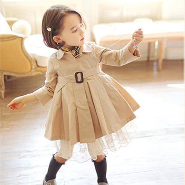 детская мода - плащ серый юбка пышная