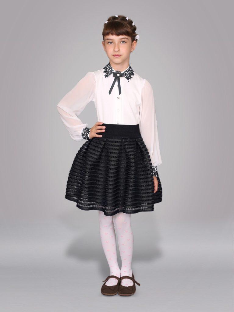 детская мода - пышная юбка черная под белую блузку с черным воротником