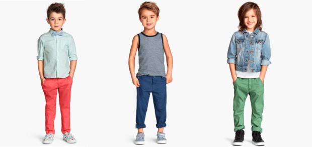 детская мода - красные штаны под голубую рубашку для мальчиков