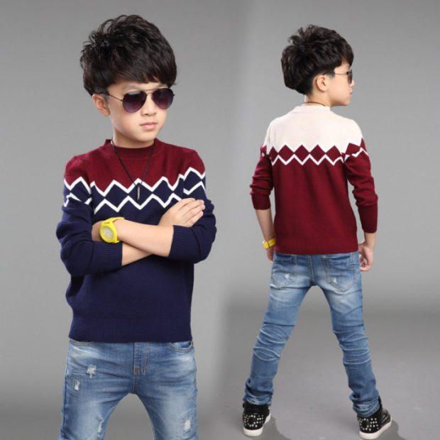 детская мода - свитер синий с бордовым для мальчиков