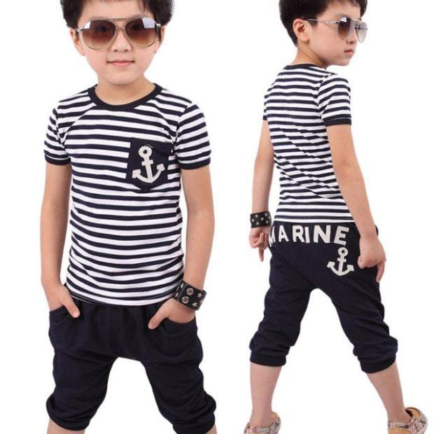 детская мода - футболку черная с белым полоска для мальчиков