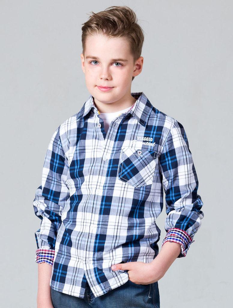 детская мода - рубашка синяя с белым в клетку для мальчиков