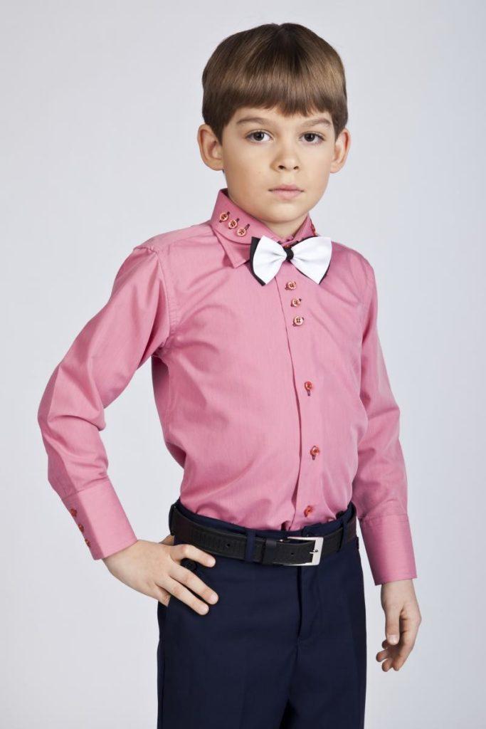 детская мода - розовая рубашка для мальчиков