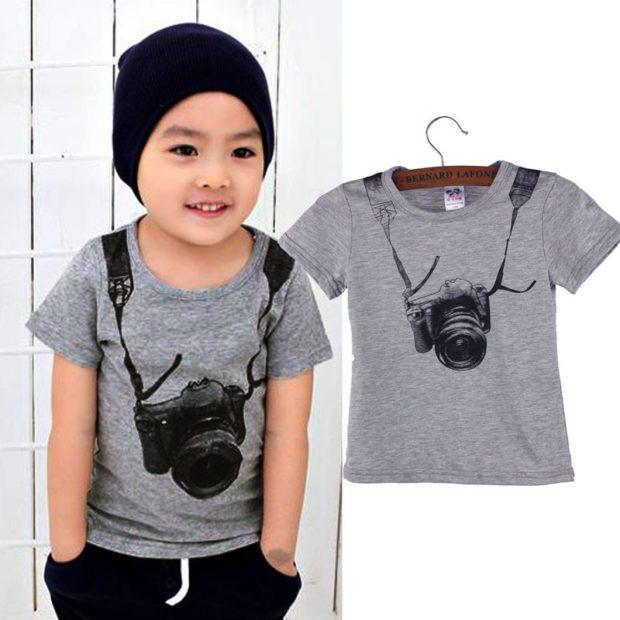 детская мода - серая футболка с рисунком для мальчиков