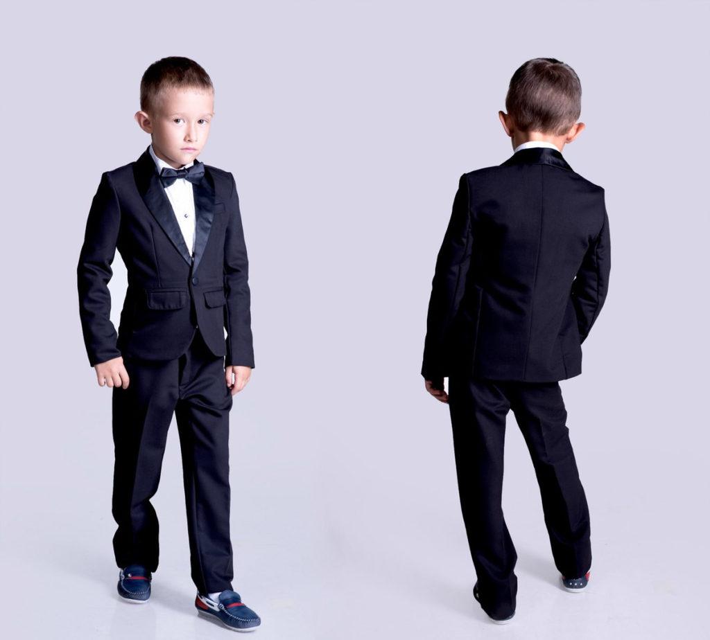 детская мода - черный брючный костюм для мальчиков