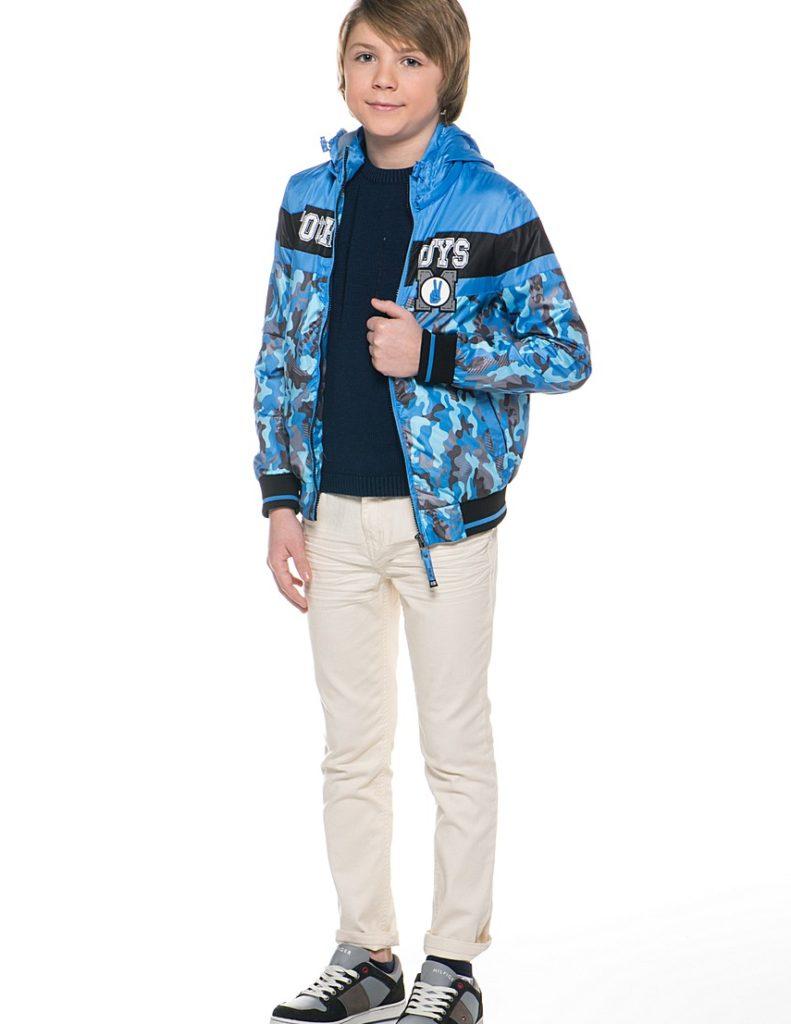 синяя куртка в принт для мальчиков