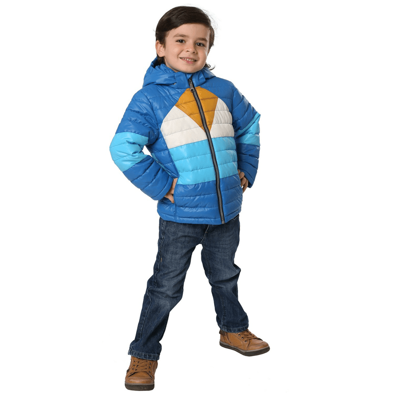 синий стеганый пуховик для мальчиков