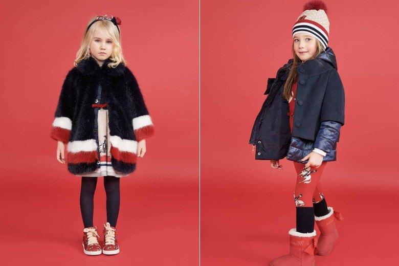черная шубка с красным и белым детская мода зима 2018