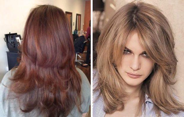 женские стрижки 2019-2020: лесенка на длинные волосы на среднюю длину