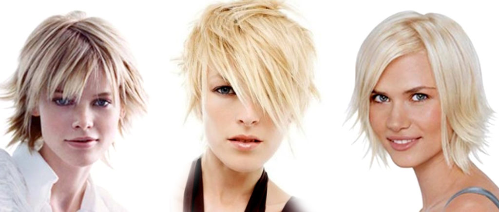 рваная стрижка на среднюю длину волос с рваной челкой с косой челкой без челки