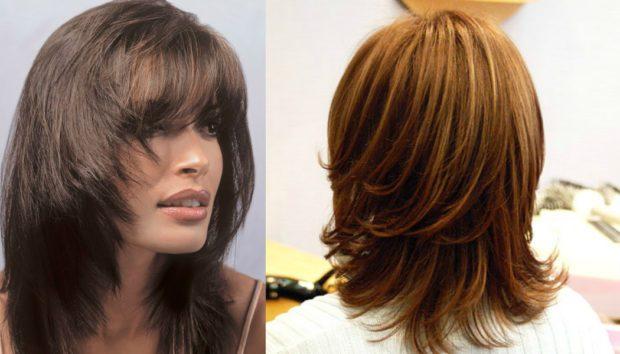 женские стрижки: рапсодия на среднюю длину волос с челкой вид сзади
