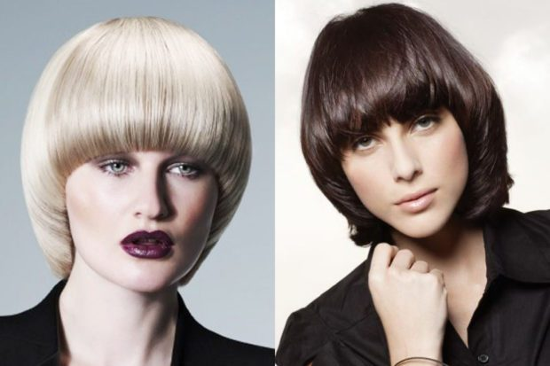 женская прическа: паж на среднюю длину волос