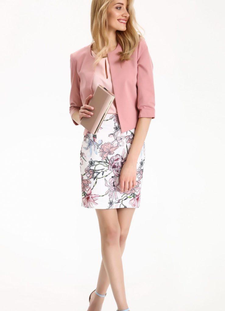 юбка в цветы под розовый жакет