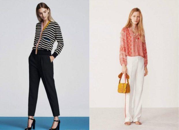 Мода в женской одежде - черные короткие брюки под полосатую кофту
