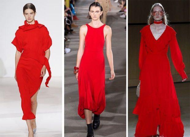 Мода в женской одежде - красные платья