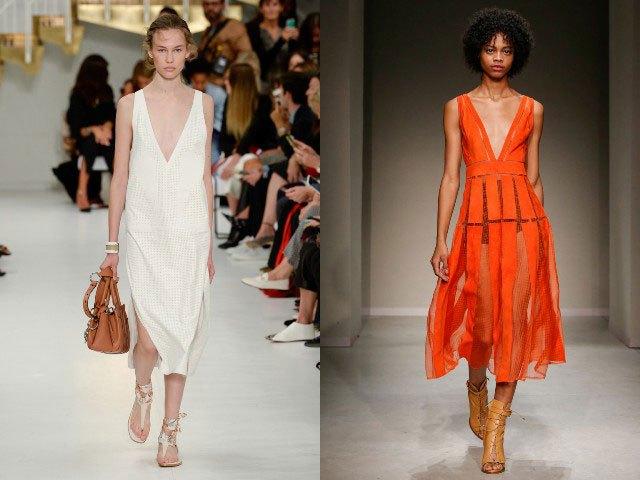 Мода в женской одежде - платье белое с разрезами