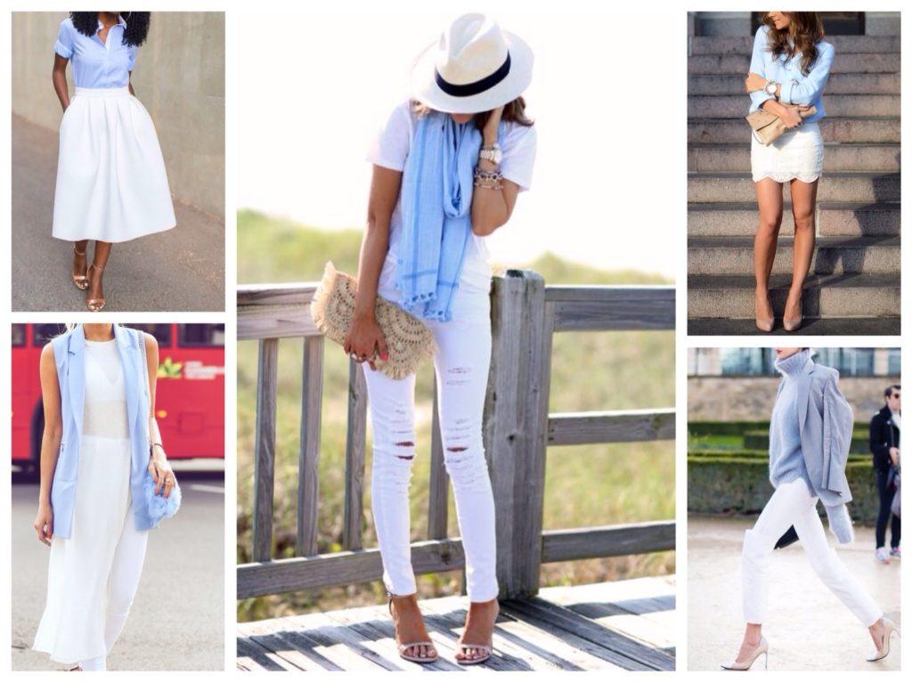 Мода в женской одежде - сочетание голубого с белым