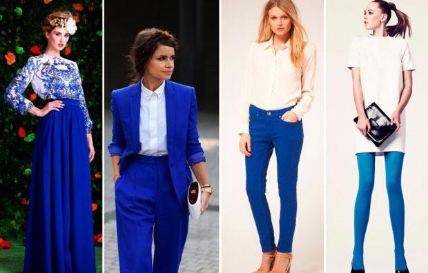 Мода в женской одежде - платье белое с синим