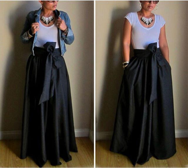 черная атласная юбка длина макси с бантом