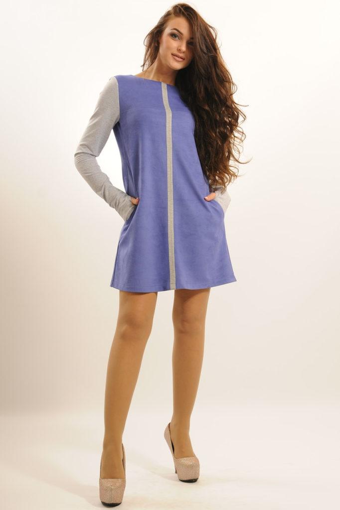Мода в женской одежде - платье а-силуэт фиолетовое с серым