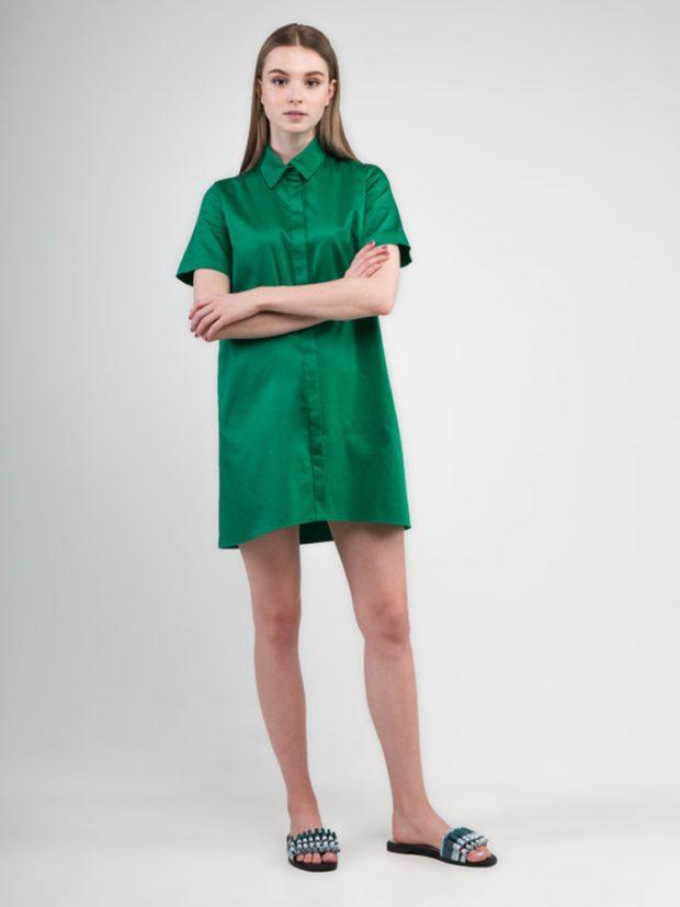 Мода в женской одежде - платье-рубашка зеленое а-силуэт
