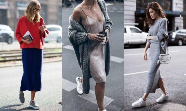 Мода в женской одежде - платья под кеды и кроссовки