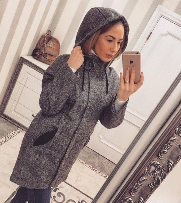 Мода в женской одежде - пальто-парка серое