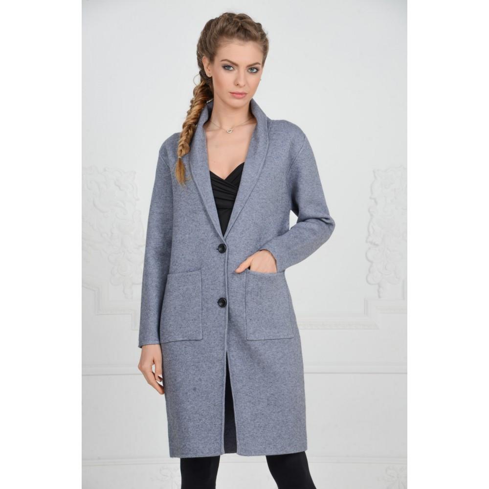 Мода в женской одежде - плащ из серого трикотажа
