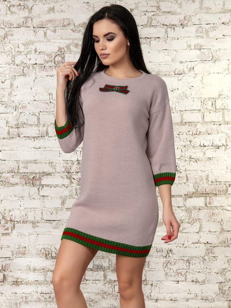 модная женская одежда - грязно-розовое платье с бантиком