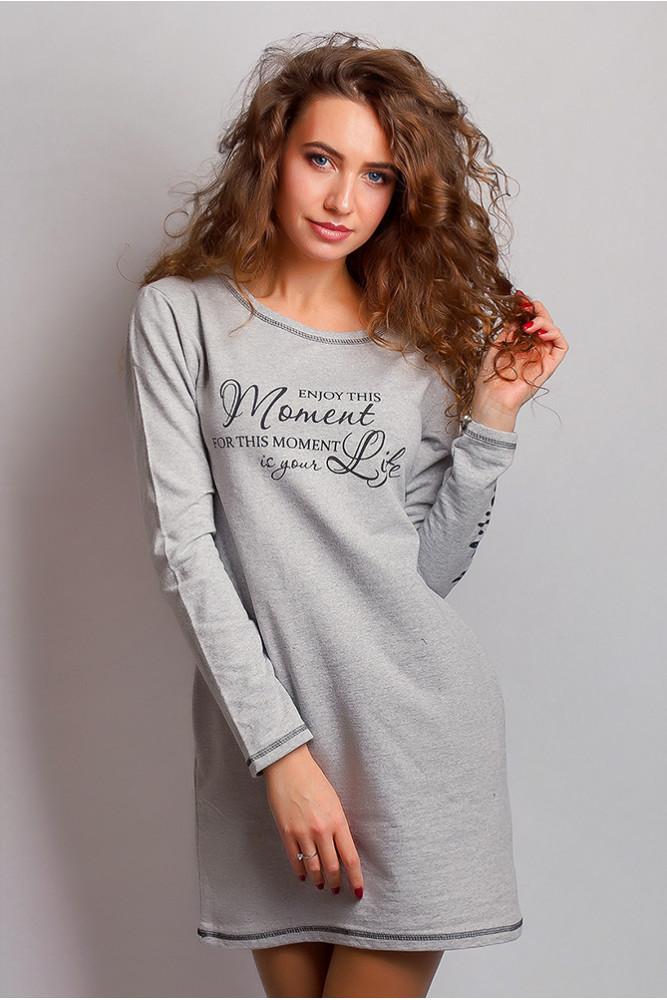 модная женская одежда - серое трикотажное платье