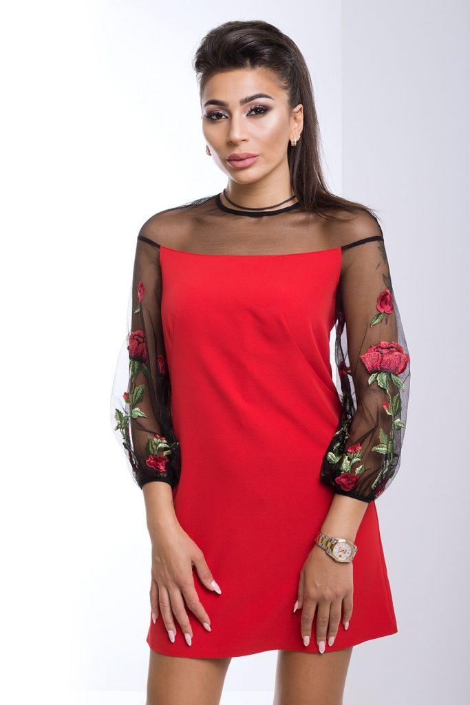 модная женская одежда - платье красное с черным прозрачным рукавом