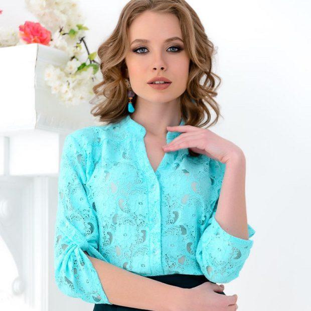 модная женская одежда - бирюзовая блузка ажурная