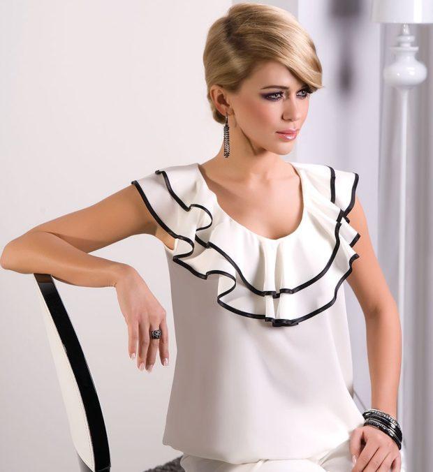 модная женская одежда - белая блузка с воротником из воланов
