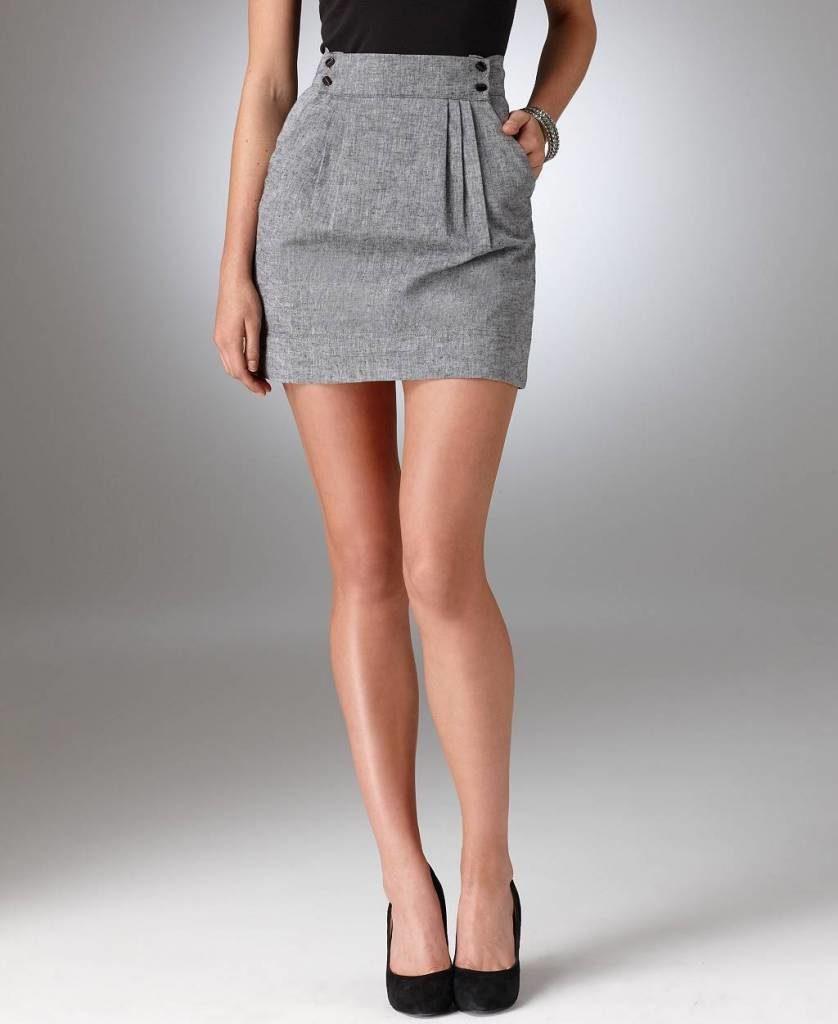 серая юбка с высоким поясом