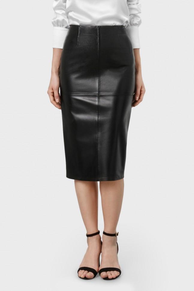 черная кожаная юбка по колено