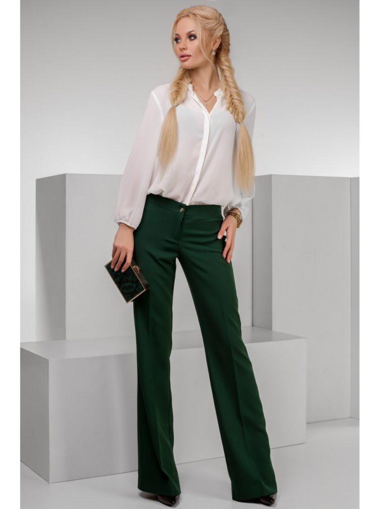 брюки зеленые клеш