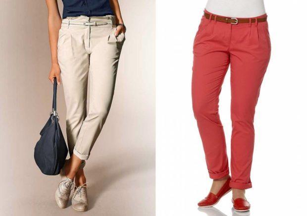брюки чиносы бежевые красные