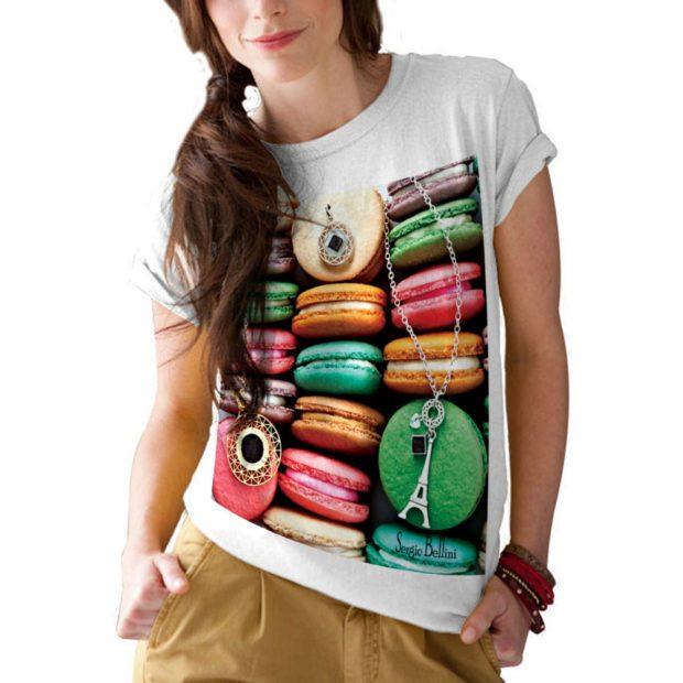 футболка белая с ярким рисунком печеньки