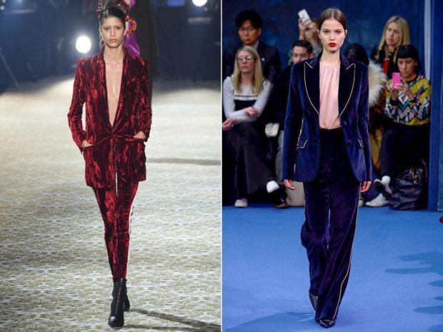 красный и синий бархатный брючный костюм